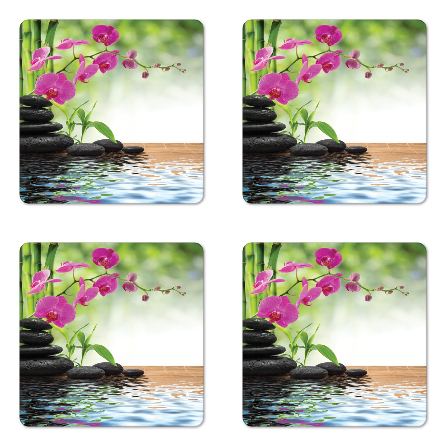 Ambesonne Spa Coaster Set of Four, Composition Bamboo Tree Floor Mat Orchid Stones Wellness Greenery, Square Hardboard Gloss Coasters for Drinks, Fuchsia Charcoal Grey Lime Green