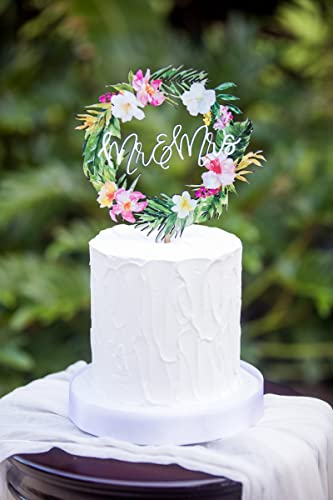 Tropical Wedding Cake Topper Floral Wreath Mr Mrs Colorful Wooden Cake Decoration Wedding Decor Beach Destination Wedding
