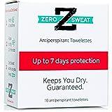 ZeroSweat Antiperspirant Wipes Deodorant | Clinical Strength Hyperhidrosis Treatment - Reduces Armpit Sweat - 10 Wipes