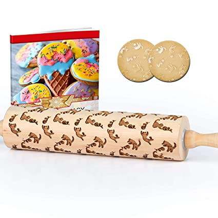 Decorative Cat Embossed Rolling Pin For Baking Beautiful Laser Engraved Bamboo Wood Material Makes Amazing Textured Cookies And Fondant For Any