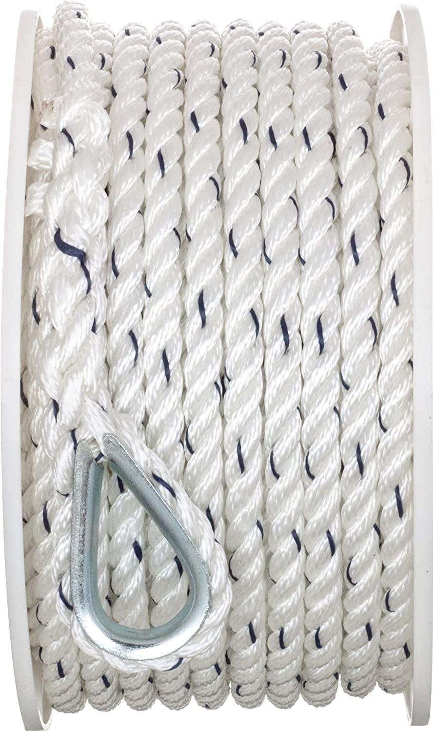 "Seachoice 3//8/"" x 100/' Twisted Nylon Premium anchor line w//Tracer 47711"