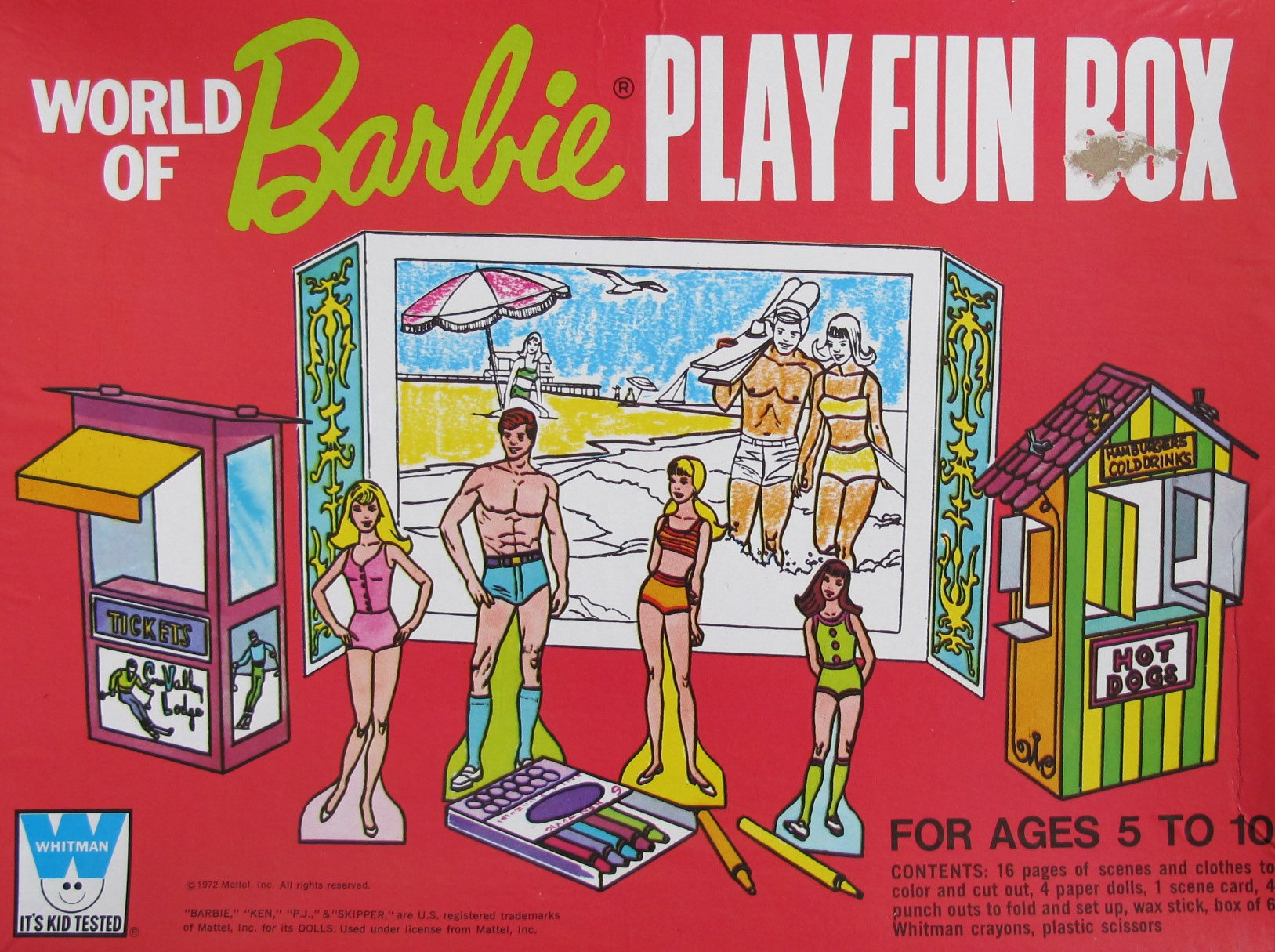 World of Barbie Play Fun Box w 4 Paper DOLLS (Barbie, Ken, P.J., Skipper), SCENE CARD (Diorama), Clothes/Scenes to Color & MORE! (1972 Whitman, Mattel)