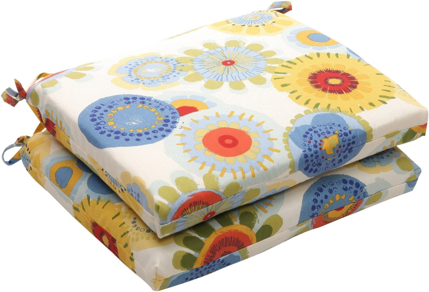 Pillow Perfect Indoor Outdoor Floral Square Seat Cushion, 18.5 in. L X 16 in. W X 3 in. D, Multicolored