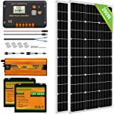 ECO-WORTHY Solar Power System for RV Off Grid Solar Panel Kit with Battery and Inverter: 2pcs 100W 12V Solar Panel + 20A Char