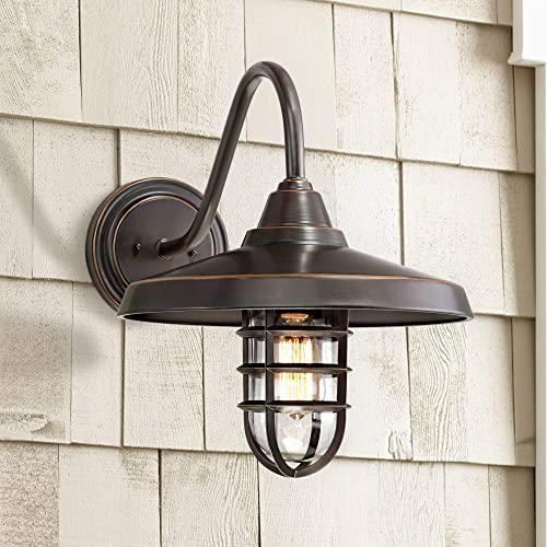 Marlowe Industrial Outdoor Barn Light Fixture Painted Bronze Cage 16 3/4″ Clear Gla