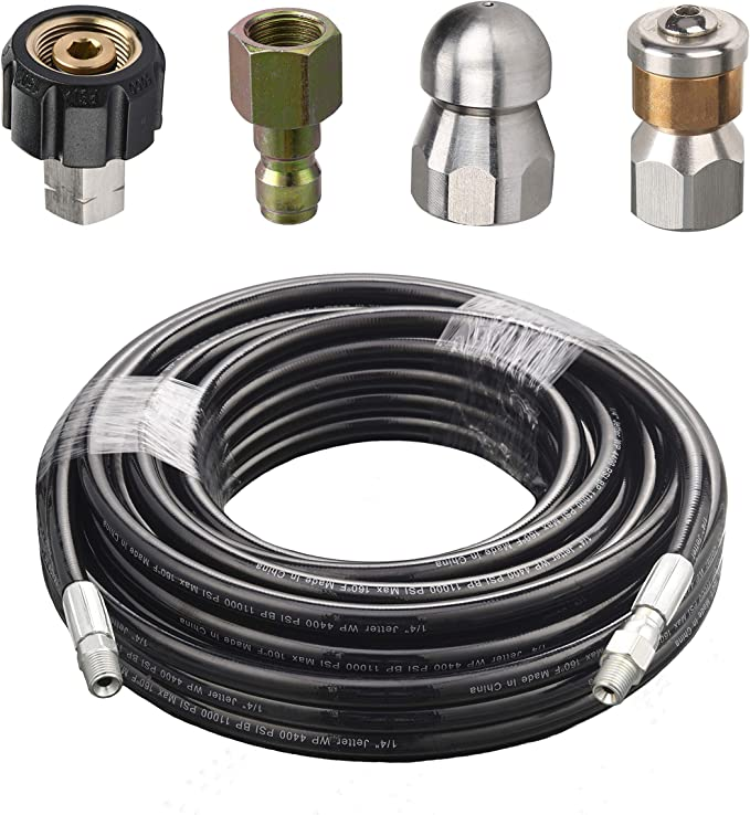 Pressure Washer Sewer Cleaning Pipe Jetter Quick Connector Kits Rupper 10m