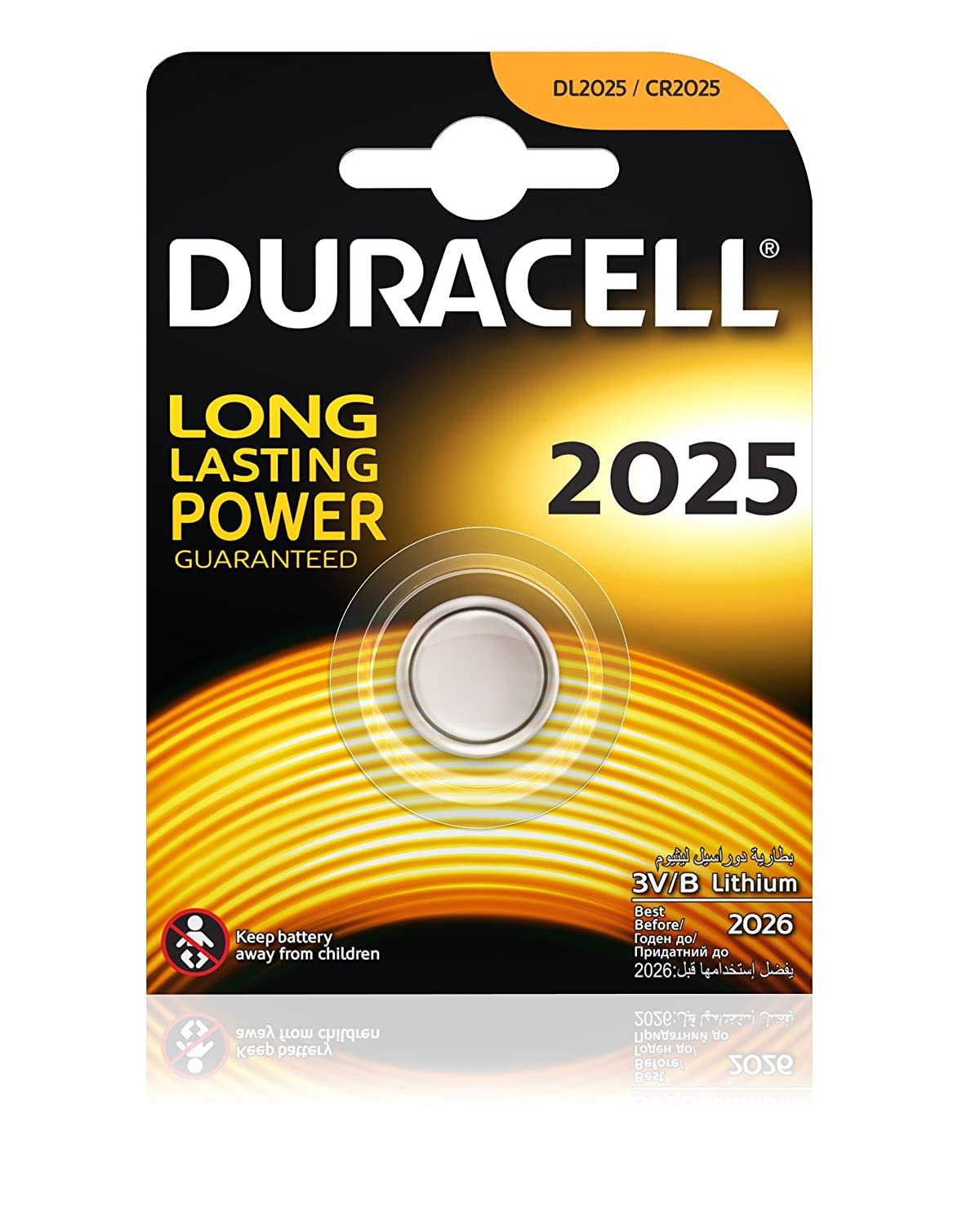 Duracell Specialty Type 2025 Lithium Coin Camera Battery, pack of 1