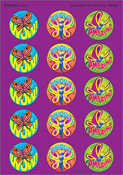 Beautiful Butterflies//Vanilla Stinky Stickers 60 ct TREND enterprises Inc T-6401
