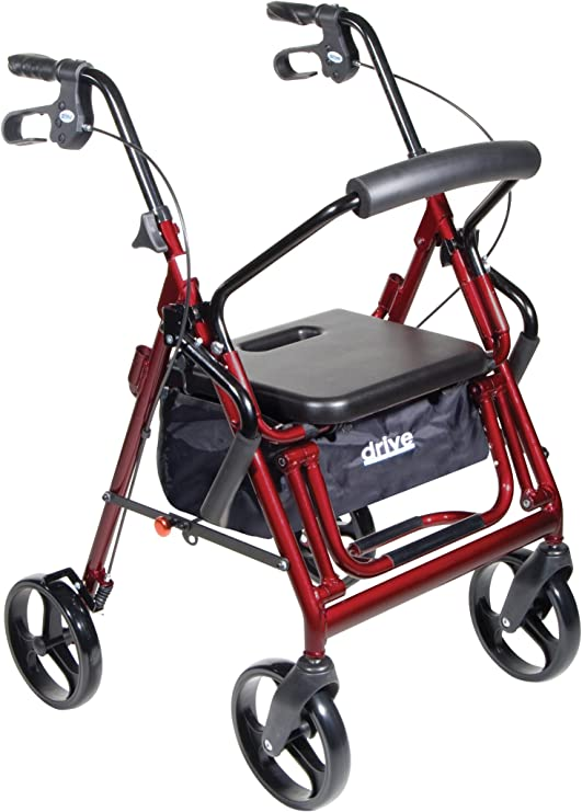 Drive Medical Duet Transport Wheelchair Rollator Walker, Burgundy