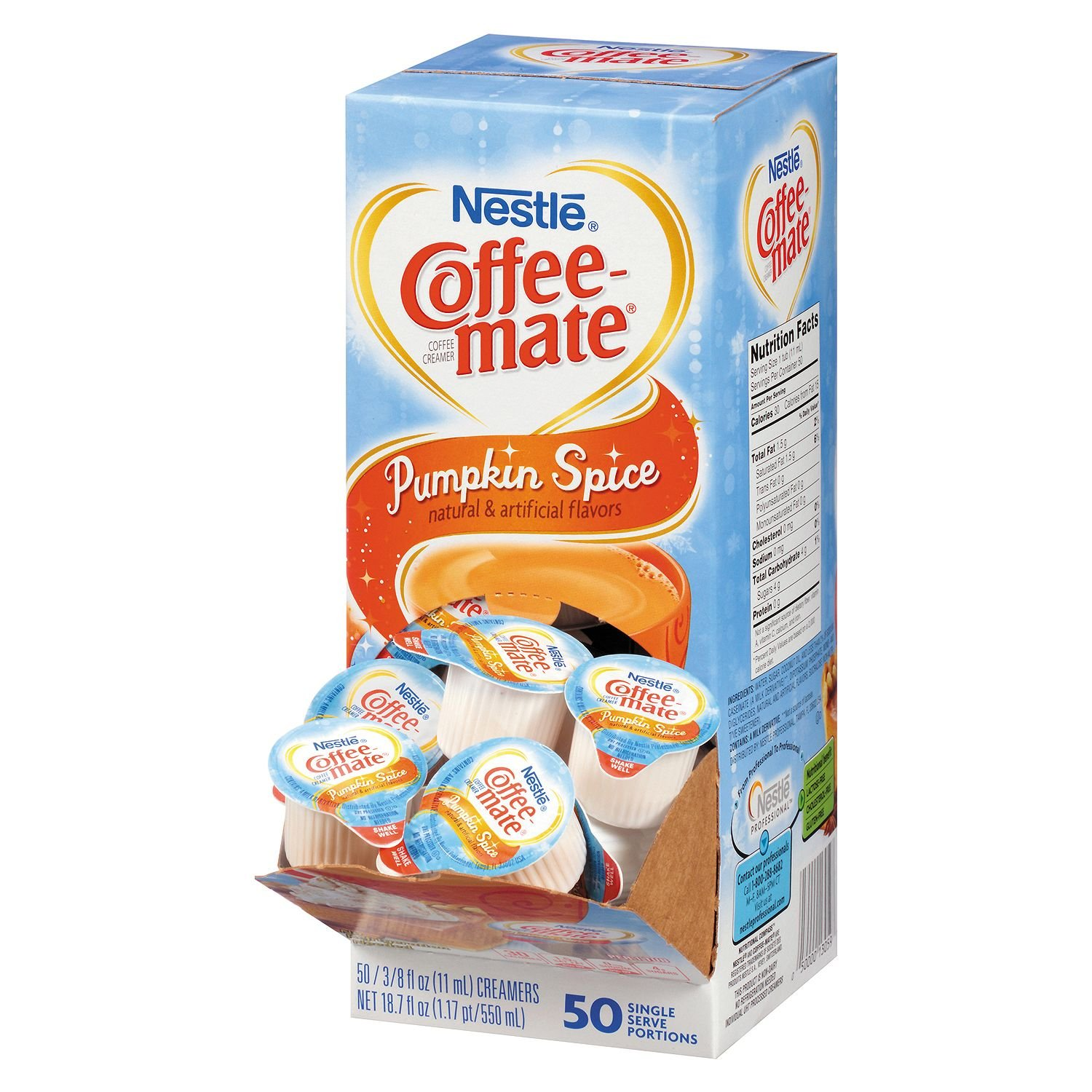 Nestle Coffee-Mate Pumpkin Spice Liquid Creamer, 50 Count Single Serving Tubs (Pack of 3) by Coffee-mate