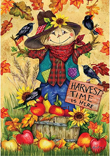 Scarecrow And Apples Double Sided Standard Size 28 Inch X 40 Inch Decorative Flag Garden Outdoor