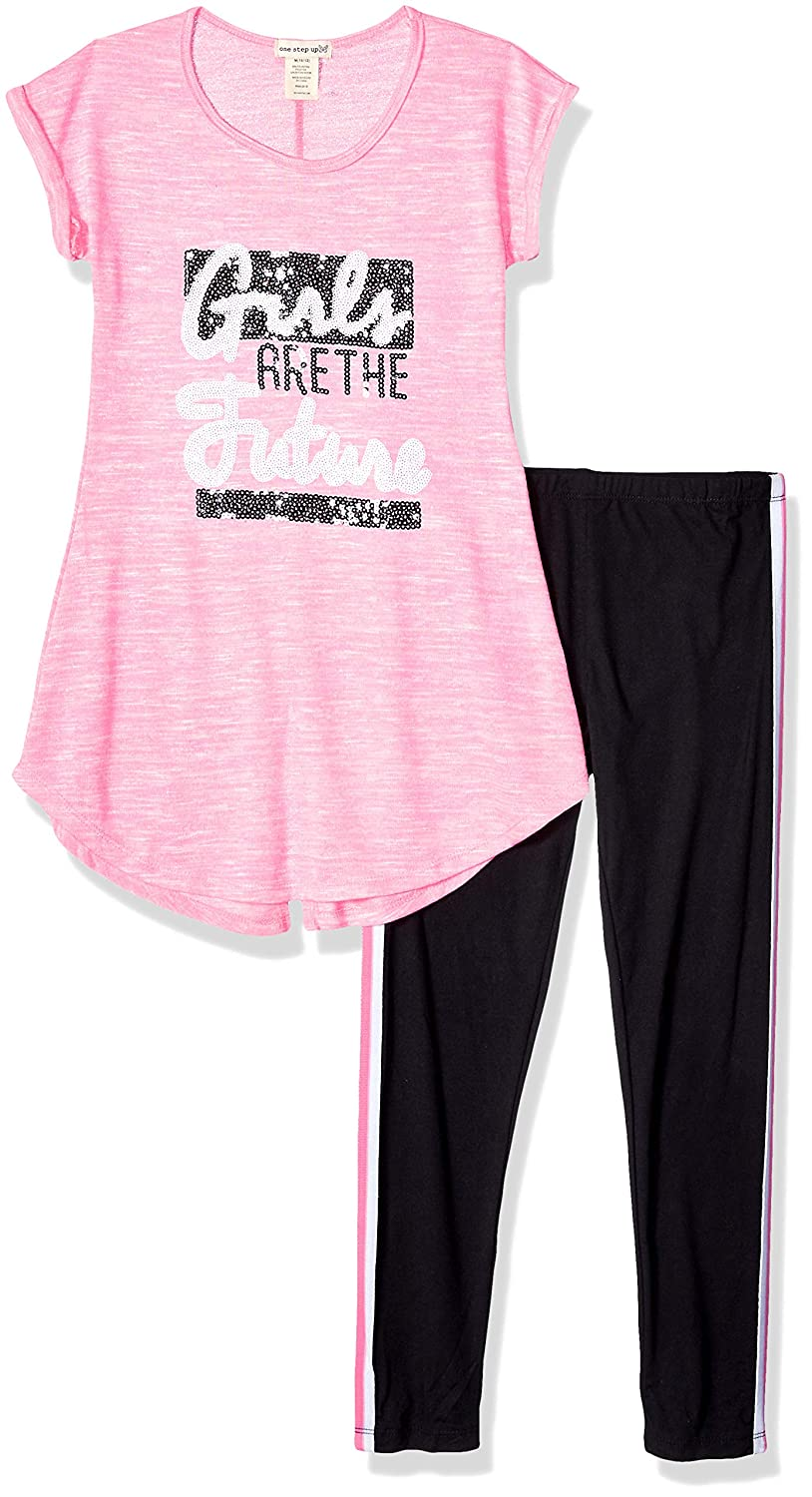 One Step Up Girls 2 Pc Knit Top and Legging Set