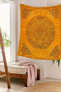 SheetKart Mandala Tapestry Wall Hanging, Medallion Indian Cotton Printed Floral Art, Wall Décor Tapestries - Beige Yellow Tie Dye (Small: 58 x 58 Inches, Mandala 1)