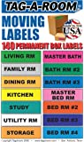 "Tag-A-Room Moving Labels, 140 Count Color Coded Moving Stickers Labels, Moving Supplies 1"" x 4"" Each"