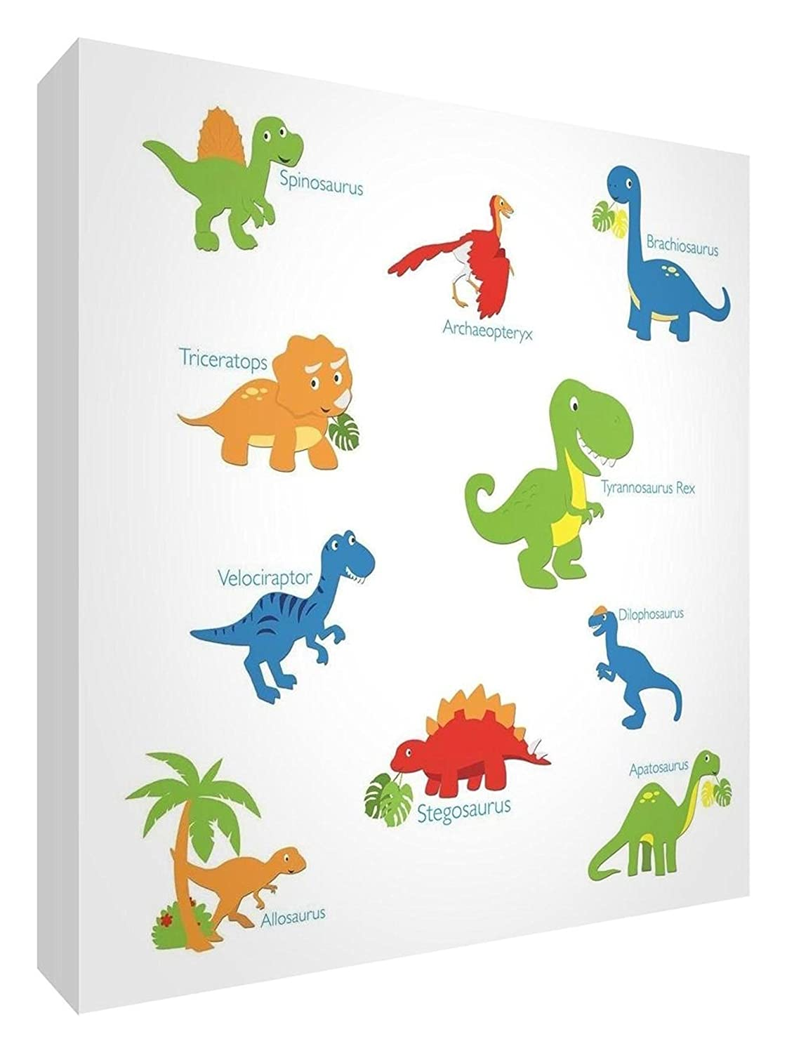 Feel Good Art Premium Giclée Dinosaurs Design Printed Canvas with Solid Backing, 25 x 25 x 3 cm Little Helper Ltd DINOSAURS1010-15