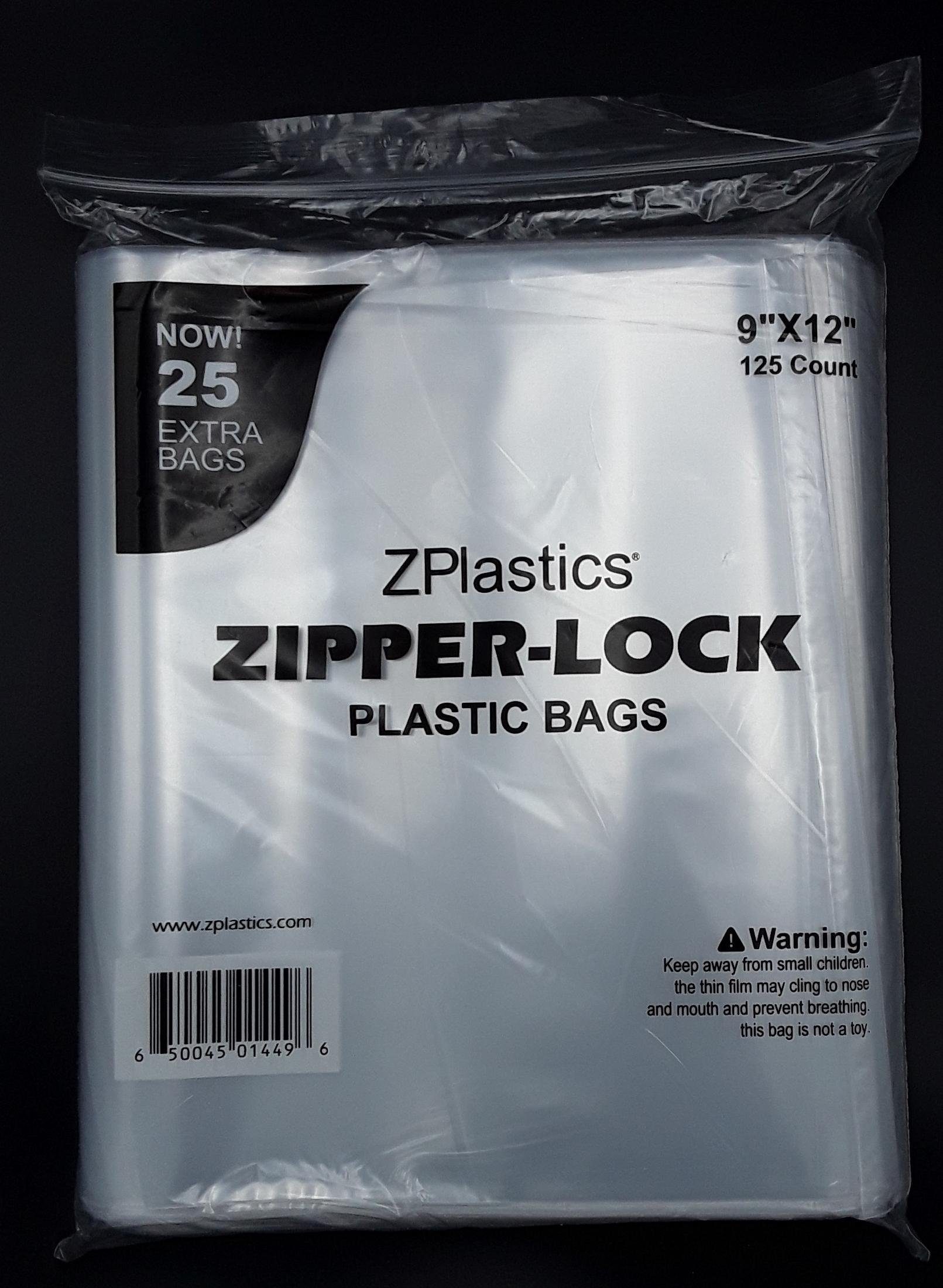 9X12 2mil Clear Resealable Plastic Bag By ZPlastics| Pack of 125 Storage Bags With Zipper: Transparent, Label-Free & Leakproof| Business Use, Any Type Of Content