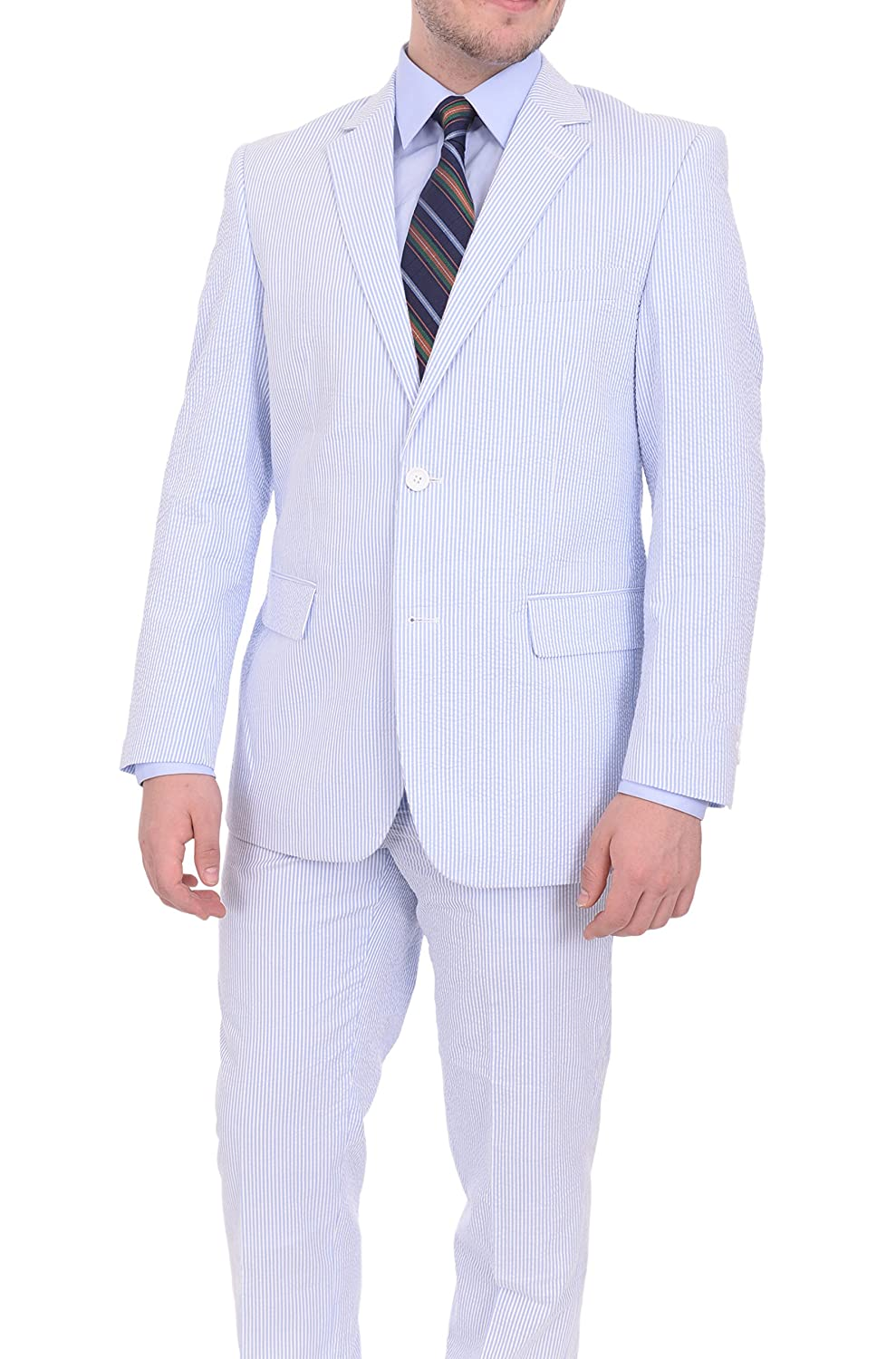 Emigre Mens Blue And White Striped Seersucker Two Button Cotton Suit 804-20-Blue-1