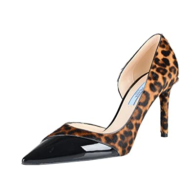 54aebab58 Prada Women's Pony Hair Patent Leather High Heel Pumps Shoes US 8.5 IT 38.5;