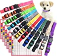 The Creativehome Puppy ID Collar Identification Soft Nylon Adjustable Breakaway Safety Whelping Litter Collars for Newborn Pets with Record Keeping Charts 12pcs/Set