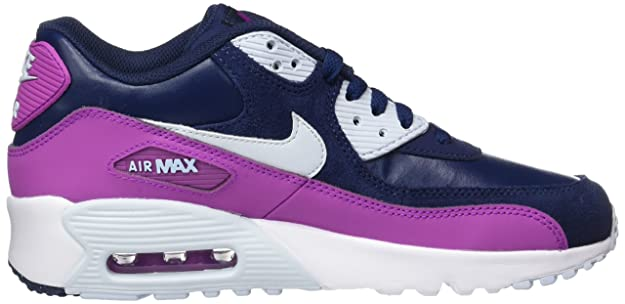4490fcc3931 NIKE Youth Air Max 90 LTR Running Shoes-White/Blue