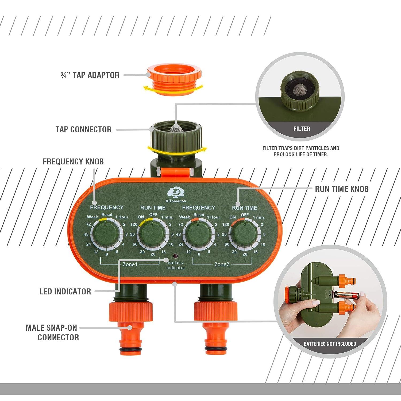 Ultranatura Semplice Sistema di Irrigazione per Irrigare Fiori Prati ECC Funzionamento a Batteria Timer con Un` Uscita