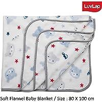 Luvlap Soft Flannel Baby Blanket, White Bear (80cm x 100cm)