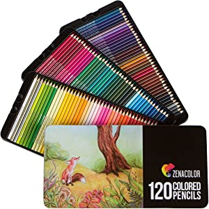 120 Colored Pencils Set, Numbered, with Metal Box - 120 Coloring Pencils for Adult Coloring Books - Colored Pencils for Adults and for Kids, Gift for Artists