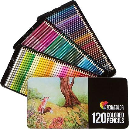 Zenacolor - 120 Lápices de Colores con Caja de Metal - 120 Colores Únicos - Fácil Acceso con 3 Bandejas: Amazon.es: Oficina y papelería