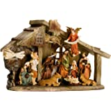 BRUBAKER Christmas Holiday Decoration Real Life Nativity Set Stable with 11 Resin Figurines Nativity Scene ( New Package) Designed in Germany