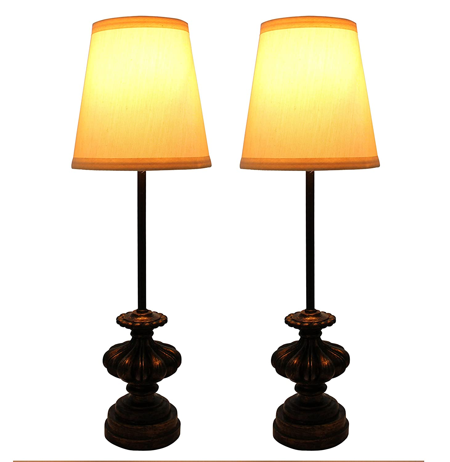 Urbanest Set of 2 Alma Mini Buffet Lamps in Burnt Gold with Chocolate Shades