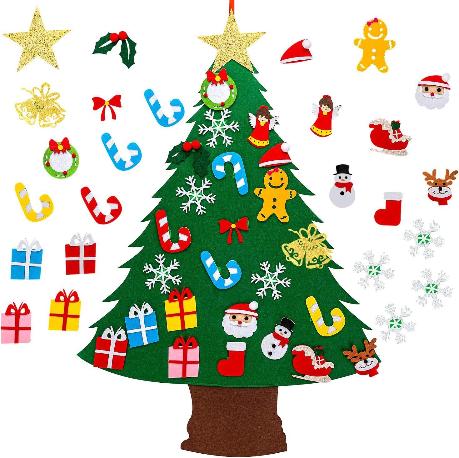 Amazon Com Savita 3 1ft Felt Christmas Tree Diy Christmas Tree With 25pcs Ornaments Christmas Decorations Door Wall Hanging Ornaments For Kids Xmas Gifts Party Supplies Home Kitchen