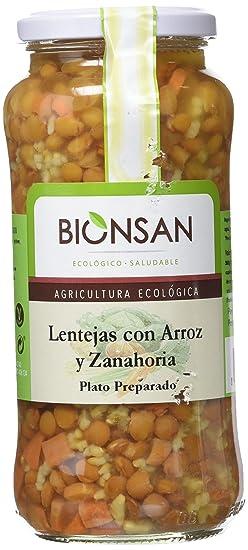 Bionsan Lentejas con Arroz Integral y Zanahoria - 4 Paquetes de 400 gr - Total: