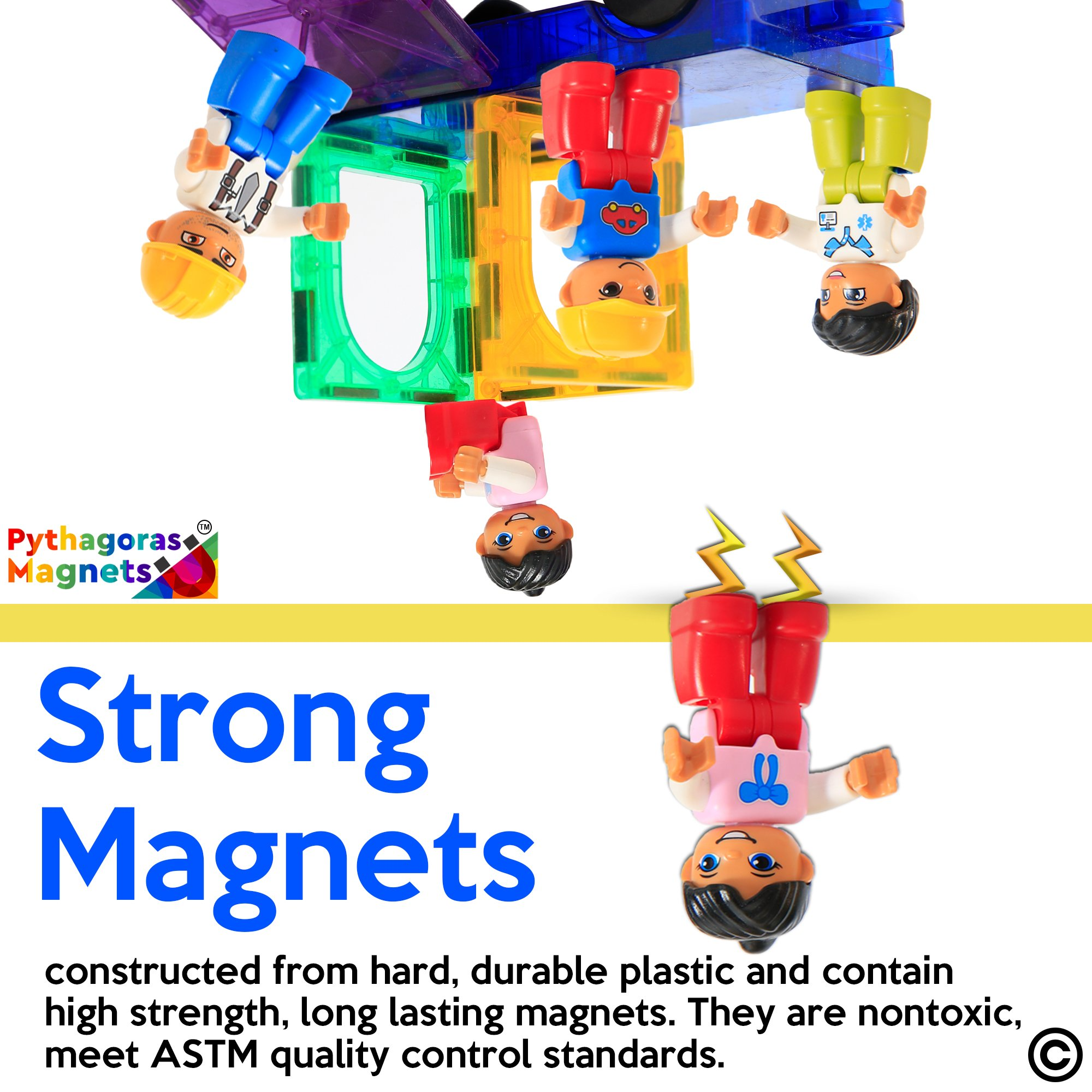 Magnetic Figures Set of 4 -Toddlers Action Toy People, Magnetic Tiles Expansion Pack for Boys and Girls - Banker Father Educational STEM Toys Add on Sets for Magnetic Blocks (3 Pack Banker Set) by Pythagoras Magnets (Image #3)