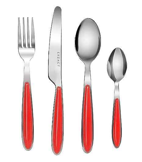Exzact EX07-16pcs cubertería Acero Inoxidable con Asas de Color - 4 x Cena tenedors