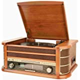 Shuman Nostalgic Wooden 7-in-1 Bluetooth Music Centre with Retro Turntable Vinyl Record Player, CD/Cassette Player, USB Playback/Recording, FM Radio, Built-in Speakers