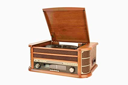 Shuman Nostalgic Wooden 7 In 1 Bluetooth Music Centre With Retro Turntable Vinyl Record Player Cdcassette Player Usb Playbackrecording Fm Radio