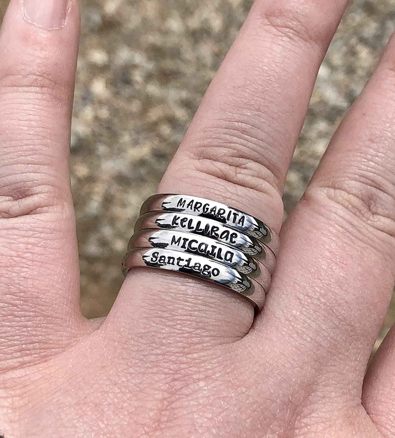 21f246c913d16 3mm *Shiny Finish* Stackable Stainless Steel Personalized Custom Stacking  Name Rings Set