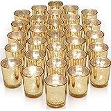 Letine Gold Votive Candle Holders Set of 36 - Speckled Mercury Gold Glass Candle Holder Bulk - Ideal for Wedding…