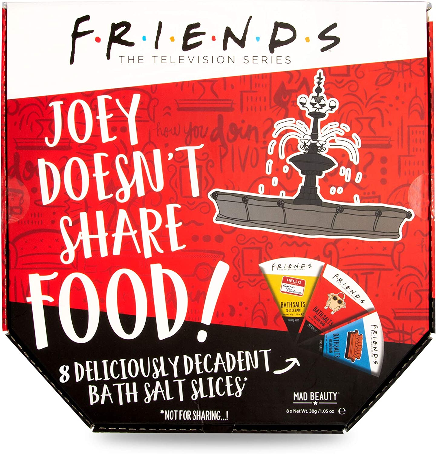MAD BEAUTY Friends TV Show Joey Doesn't Share Food 8 Slices of Bath Salts Set in Funny Pizza Box Packaging to Share or Not Share, Relaxing and Moisturizing Coconut, Peony, Vanilla Tea, and More