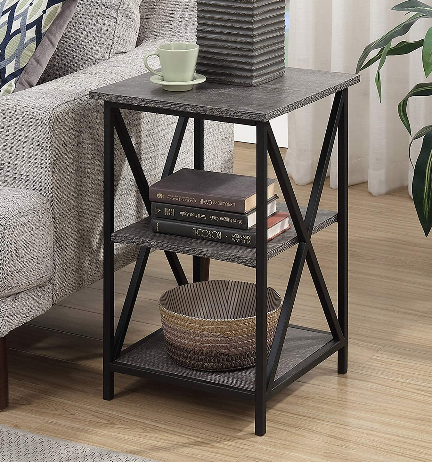 Convenience Concepts Tucson 3 Tier End Table, Weathered Gray
