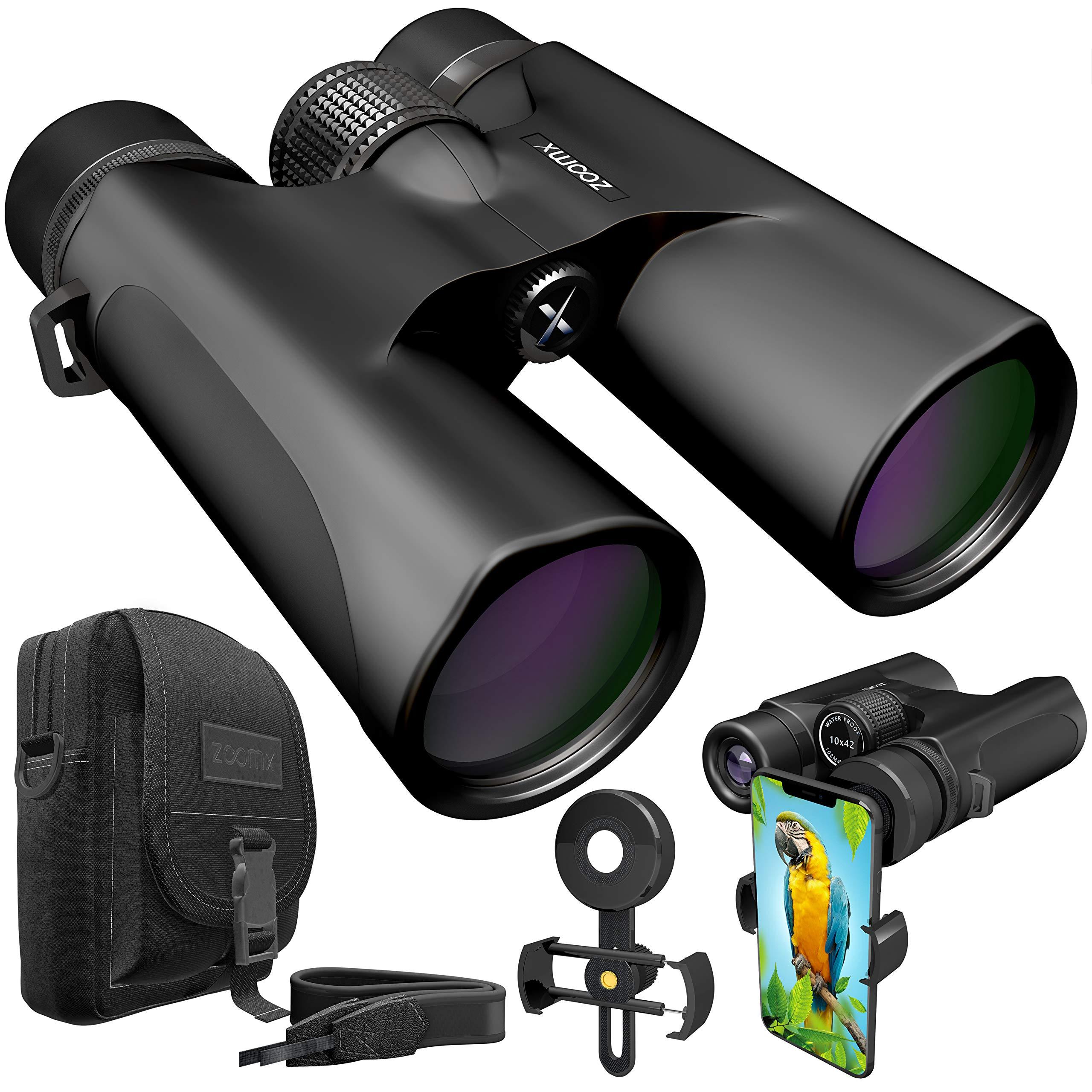 ZoomX Binoculars for Adults. 10x42 Waterproof Lightweight Compact Binocular Prism Bak4. HD Binocular for Bird Watching Hunting Traveling and Sightseeing with Smartphone Adapter, Grey by Stellax