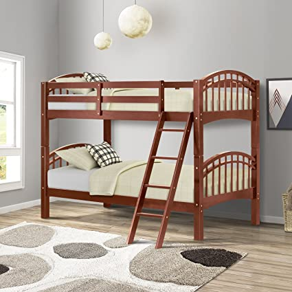 Harper Bright Designs Twin Over Twin Bunk Bed Solid Hardwood Walnut