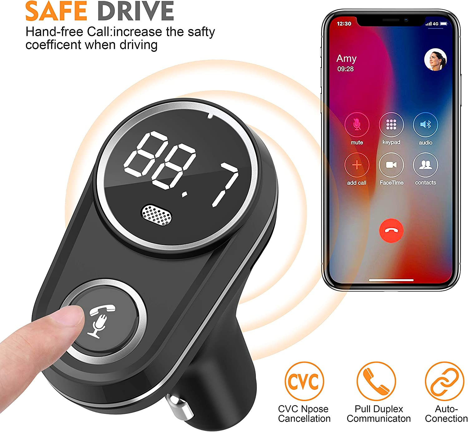 Wireless Bluetooth FM Radio Adapter Car Kit with Hands-Free Calling Rotating Design 5V//2.4A/&2.4 Concealled Dual USB Charging Ports. Silver Bluetooth FM Transmitter for Car,