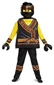 Disguise Cole Lego Ninjago Movie Deluxe Costume, Yellow/Black, Large (10-12)