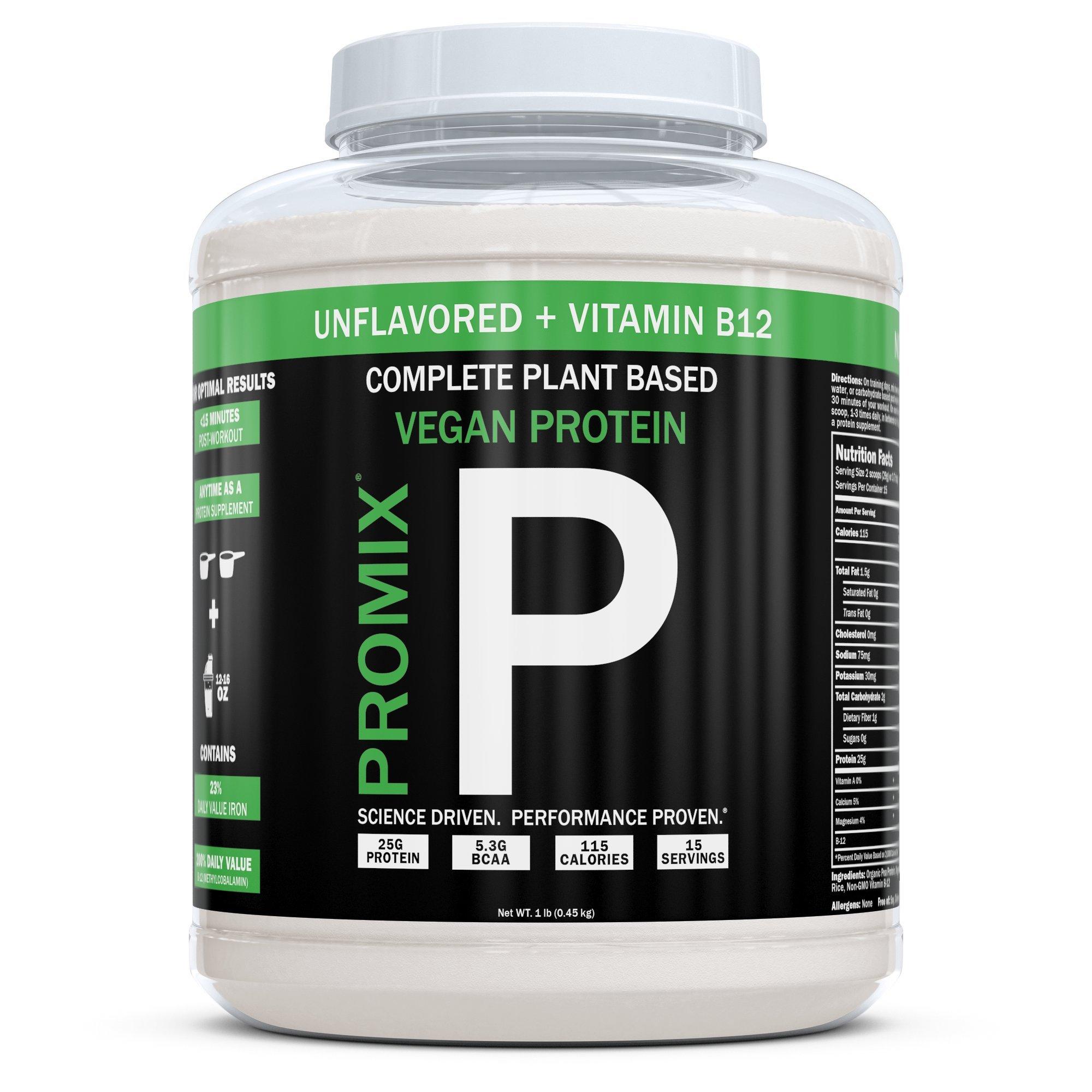 PROMIX Vegan Protein Powder | Dairy Free, Non GMO, Gluten Free, Organic (1 Pound, Vegan + B12)