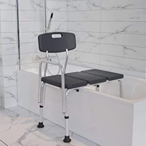 Flash Furniture HERCULES Series 300 Lb. Capacity Adjustable Gray Bath & Shower Transfer Bench with Back and Side Arm