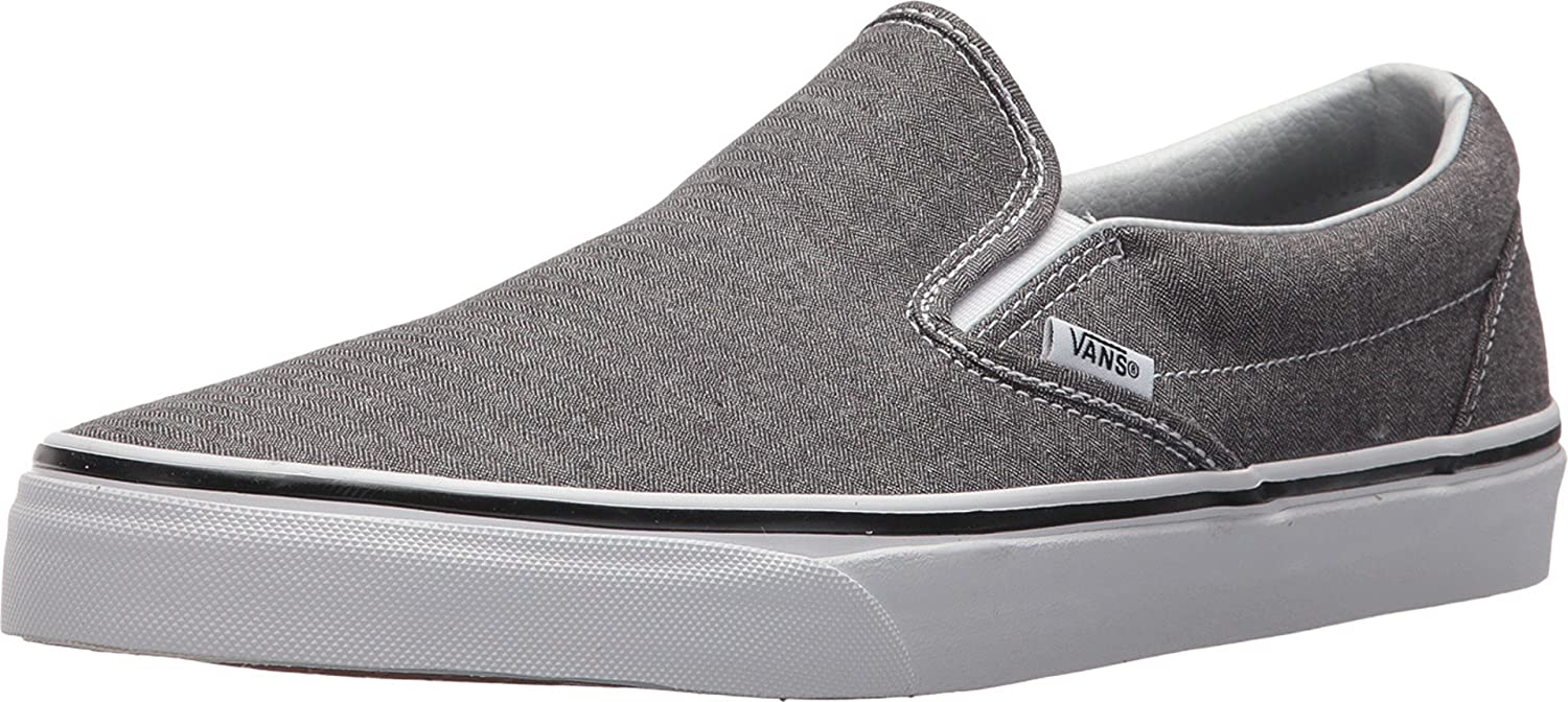 Vans Men's Classic Slip On (Suede & Suiting) Skateboarding Shoes B0716HCZDN 10 Women / 8.5.5 M US Men|Micro Herringbone Blk/Tw