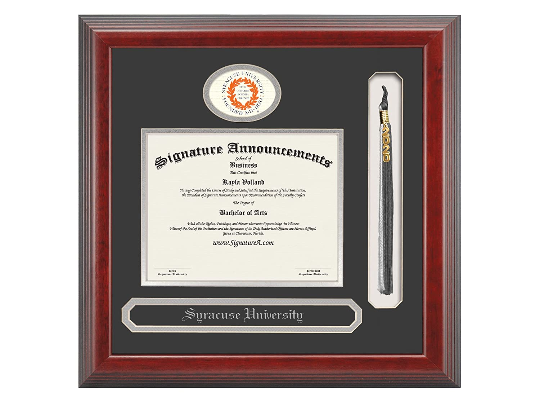 Name /& Tassel Graduation Diploma Frame 16 x 16 Cherry Signature Announcements Syracuse-University Undergraduate Sculpted Foil Seal