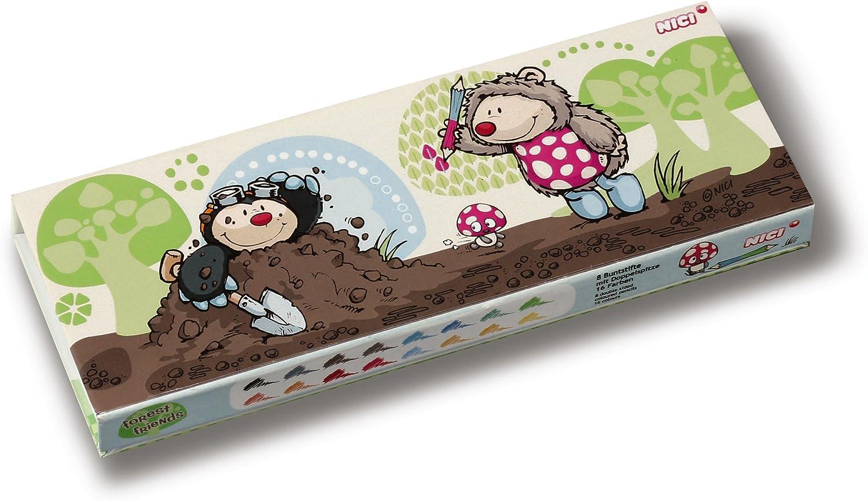8 St/ück NICI 38305 Buntstifte-Box Igel und Maulwurf 16 Farben