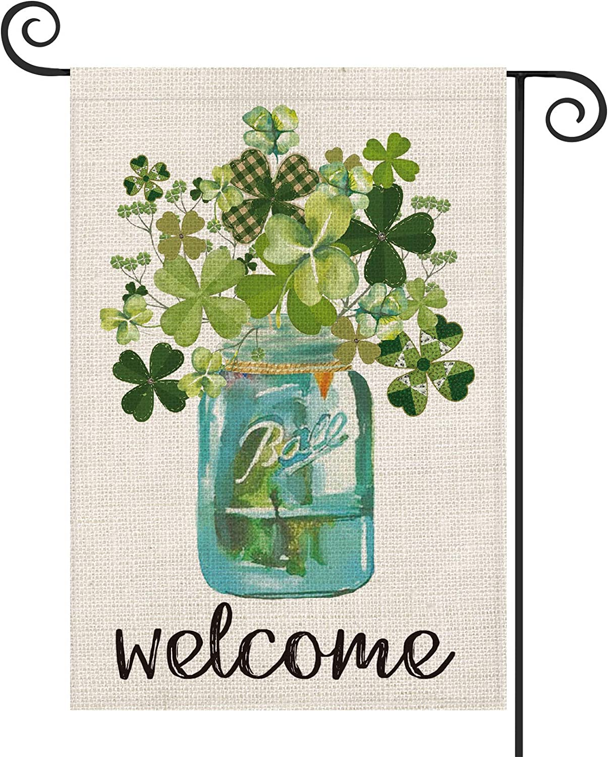 AVOIN Welcome Watercolor Lucky Clover St Patrick's Day Garden Flag Vertical Double Sided, Shamrock Jar Yard Outdoor Decoration 12.5 x 18 Inch